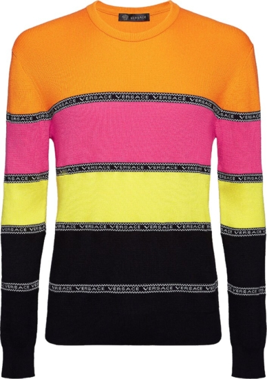 Versace Pink Orange Black Stripe Sweater