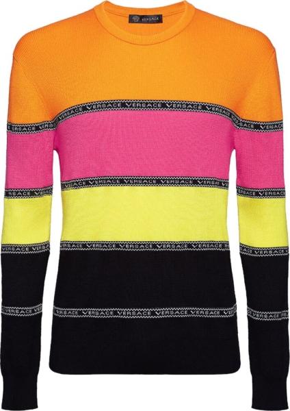 Versace Pink Orange Black Stripe Sweater