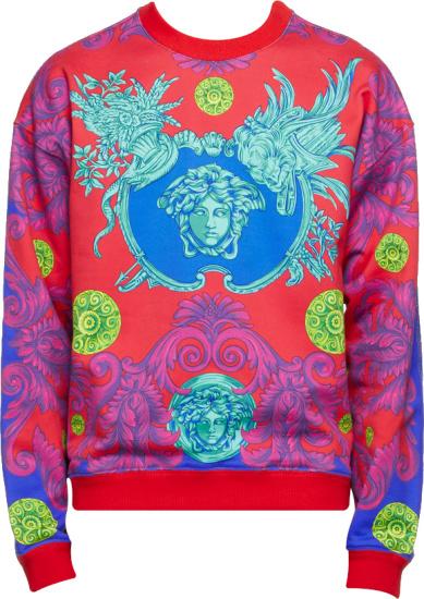 Versace Red Medusa Barocco Garden Sweatshirt