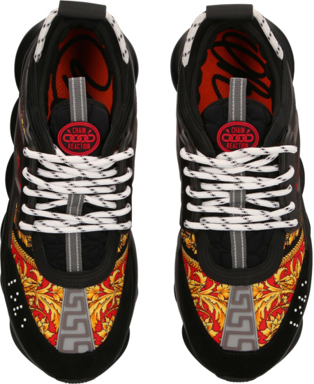 Versace Red Print And Black Chain Reaction Sneakers