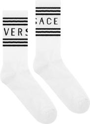 Versace White 1990s Logo Socks