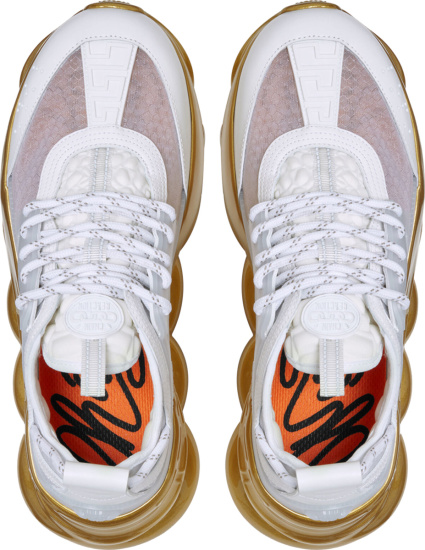 Versace White And Gold Sole Chain Reaction Sneakers