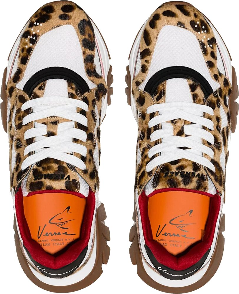 Versace White And Leopard Squalo Sneakers
