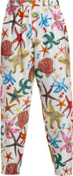 Versace White And Multicolor Starfish Print Pants