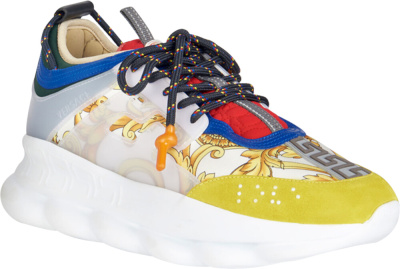 Versace White Baroque Print Chain Reaction Sneakers