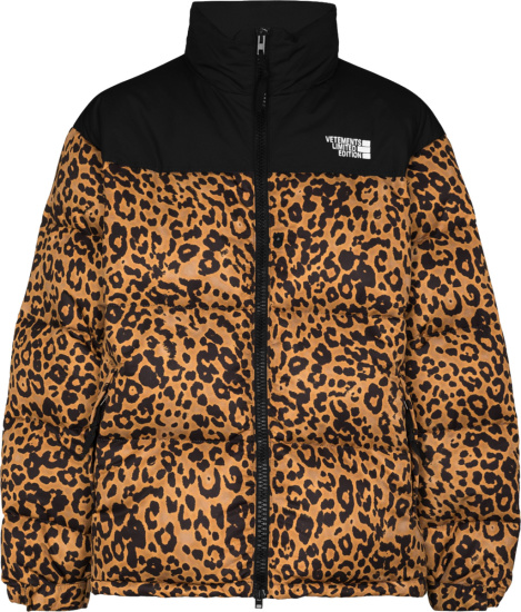 Vetements Black And Brown Leopard Print Puffer Jacket