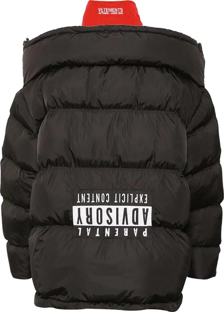 'Upside-Down' Black Puffer Jacket
