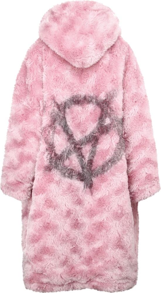 Anarchy Print Pink Fur Coat