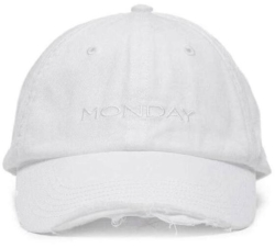 Vetements Ripped White Monday Embroidered Baseball Hat