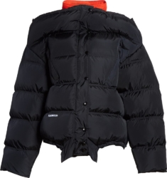 'Upside-Down' Black Puffer Jacket