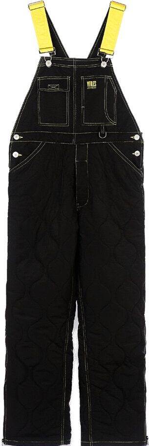 Vfiles Black Quilted Overalls