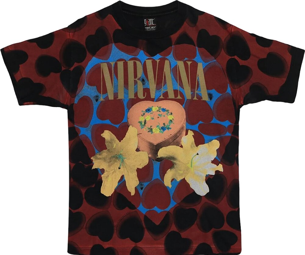 Vintage Nirvana Black And Red Heart T Shirt