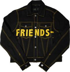 Vlone Black And Yellow Denim Friends Jacket