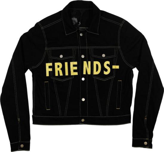Vlone Black And Yellow Denim Jacket Friends