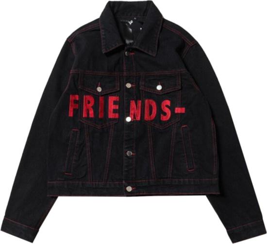 Vlone Red Black Friends Denim Jacket.jpga