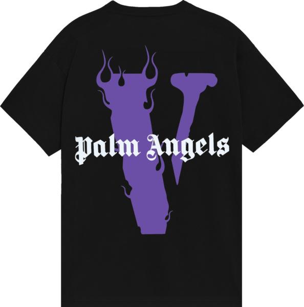 Vlone X Palm Angels Black And Purple Logo T Shirt