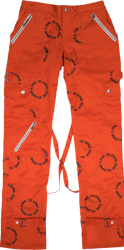 Vlone Orange And Allover Black Circle Logo Bondage Pants