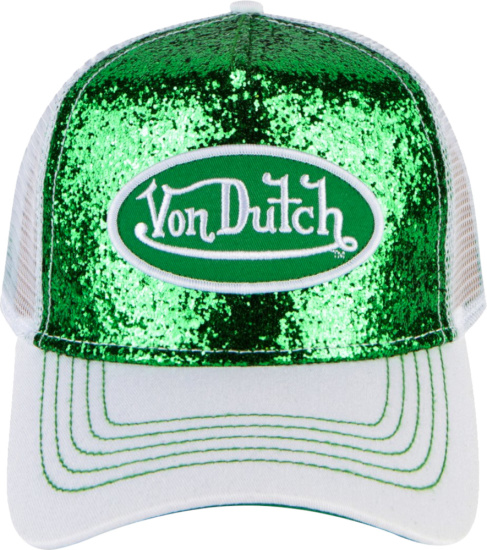 Von Dutch Green Glitter And White Trucker Hat