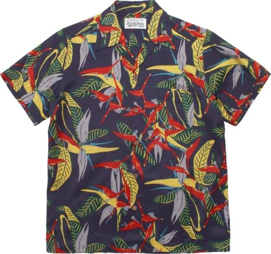 Wacko Maria Purple Hawaiian Print Shirt