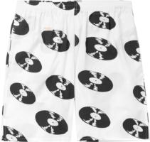 Record Print White Shorts
