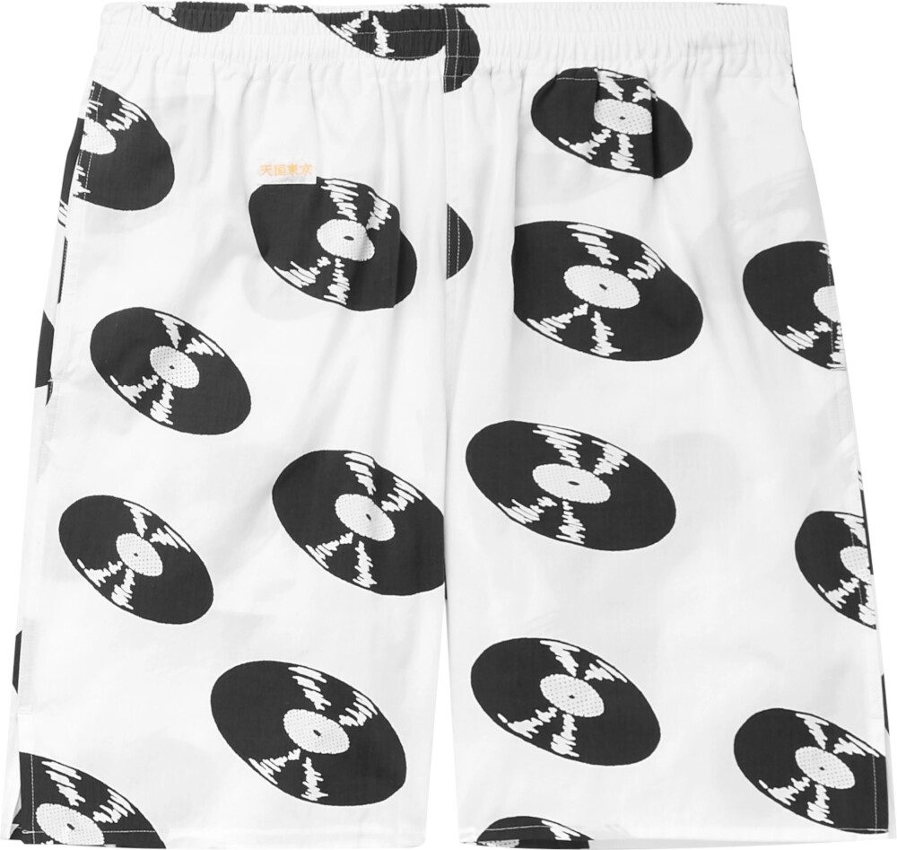 Wacko Maria Record Print White Shorts