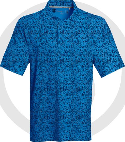 Walter Hagan Royal And Navy Blue Ditsy Floral Polo Shirt Marked