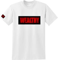Wealthy Brand Logo Print White T Shirt