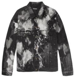 White And Black Tie Dye Bleachen Denim Jacket