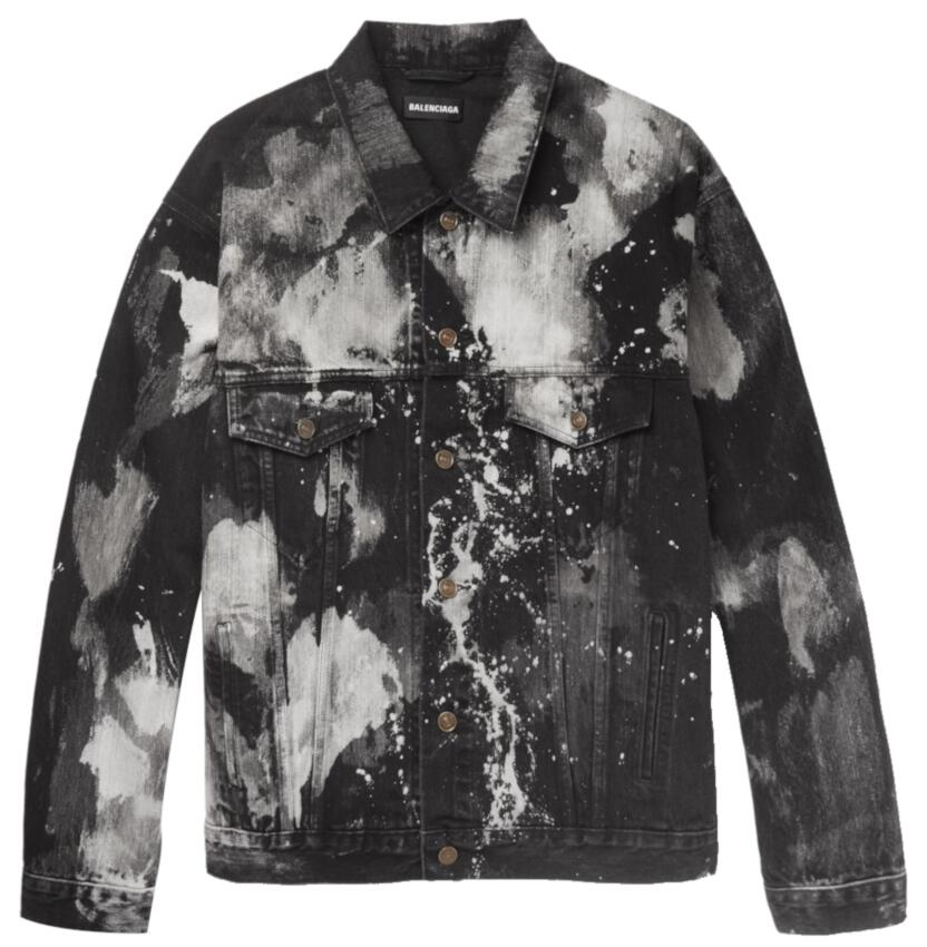 White And Black Tie Dye Bleachen Denim Jacket