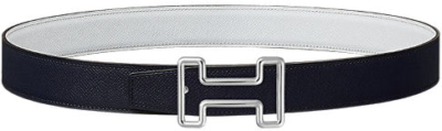 White And Blue Hermes Belt Worn By A Boogie With A See Thru Silver Tone Buckle