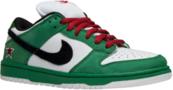 White And Green Nike Sneakers With Red Laces
