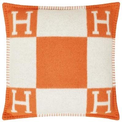White And Orange Hermes Throw Pillow