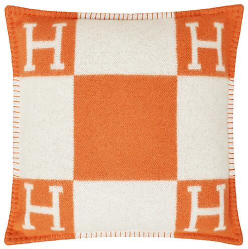White And Orange Hermes Throw Pillow