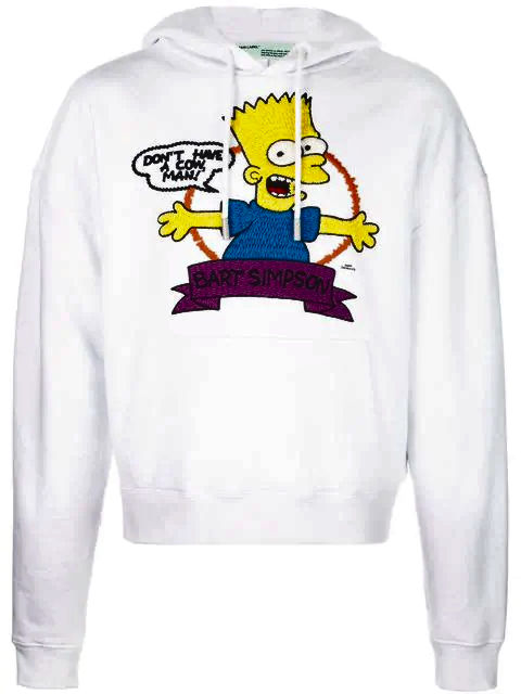 White Bart Simpson Hoodie Made By Off White And Worn By Pnb Rock In His Instagram Post