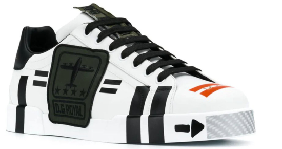 White Dolce And Gabbana Sneakers With Orang And Black Stripes Worn By Gucci Amen