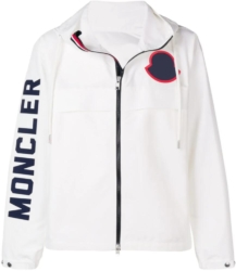 White Hooded Moncler Jacket With Blue Logo Patches
