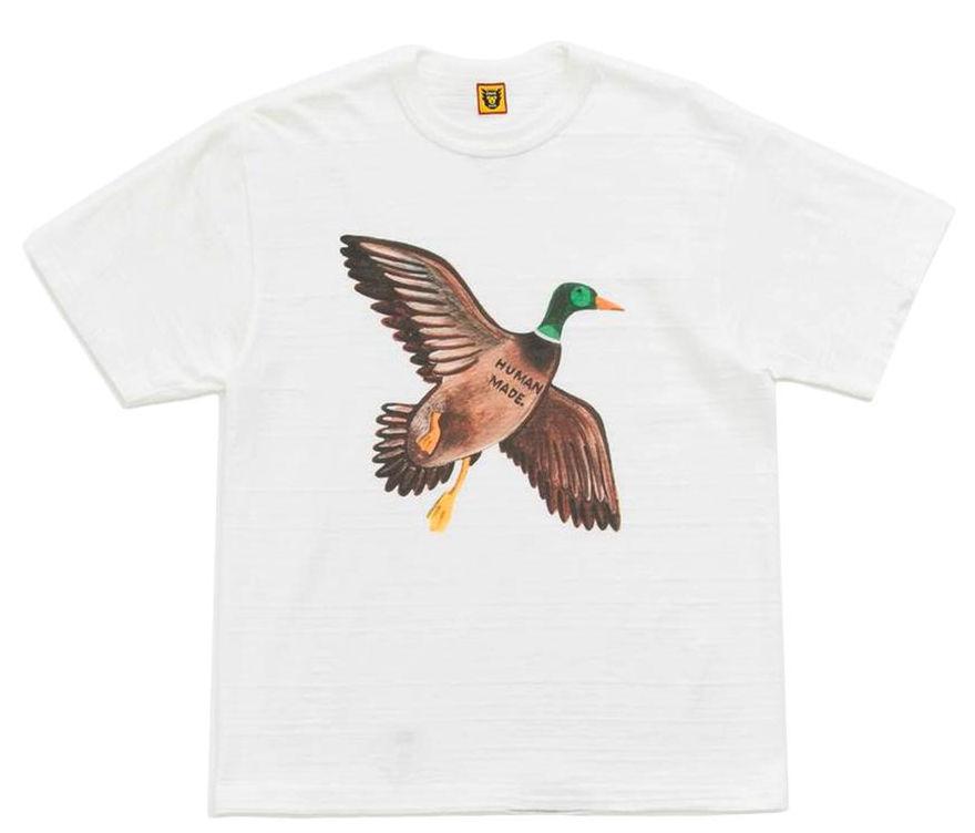 White Human Made Duck Print T Shirt Worn By Pharrell