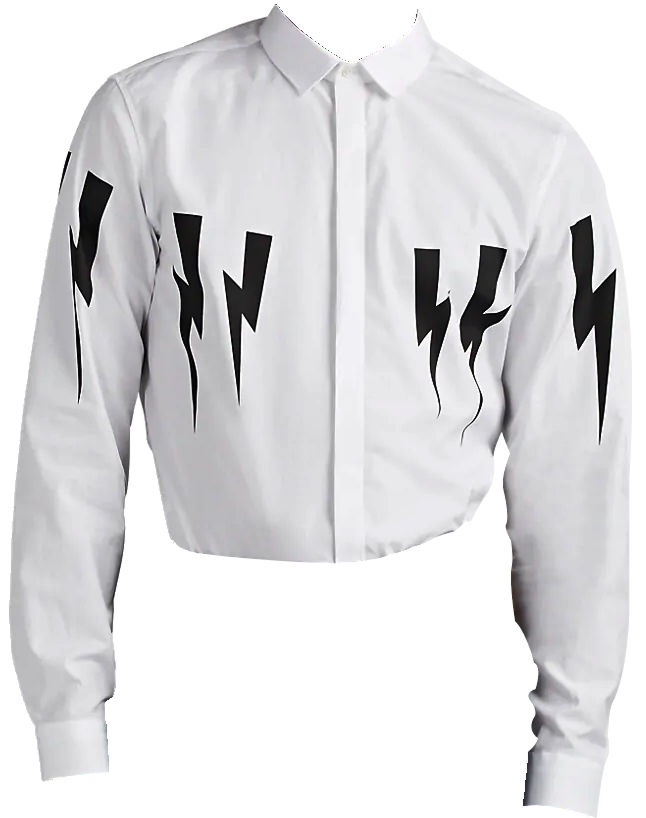 White Lightning Bolt Print Shirt Worn By Juice Wrld At Billboard Music Video Awards