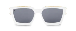 White Louis Vuitton Square Sunglasses With Gold Trim Worn By Tyga