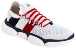 White Moncler Knit Sneakers With Red And Blue Accents