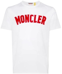 White Moncler T Shirt With Red Logo Print