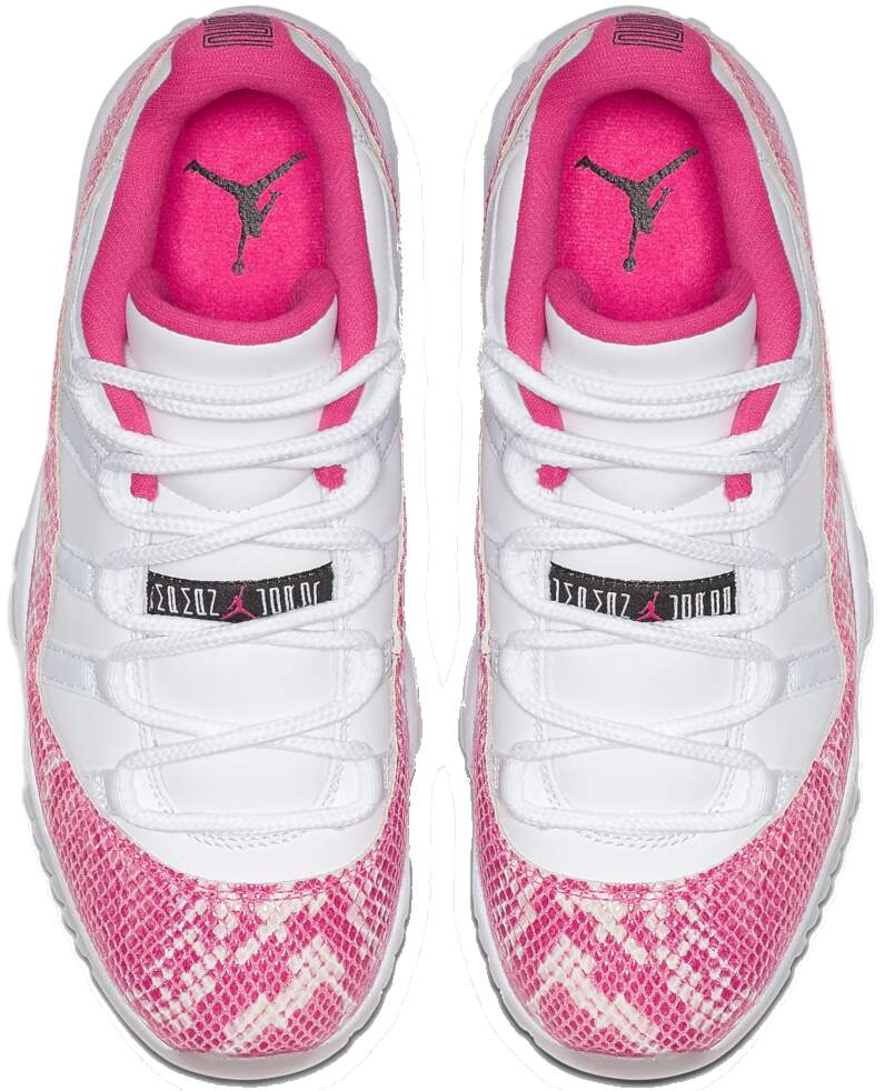 White Nike Jordan Sneakers With Pink Snakeskin