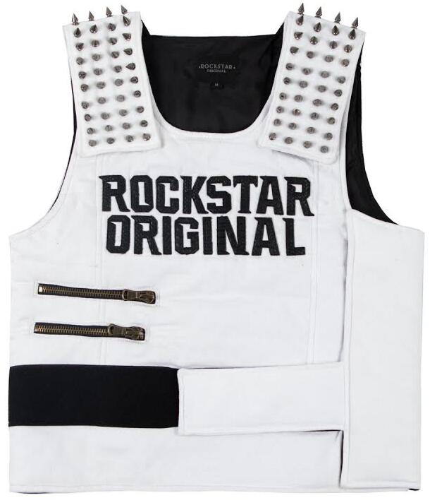 White Rockstar Original Vest With Shoulder Spikes Worn By Blueface