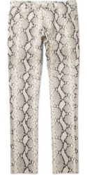 White Snake Skin Pants Worn By Asap Rocky With A Black Bomer Jacket