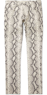 White Snake Skin Pants Worn By Asap Rocky With A Black Bomer Jacket