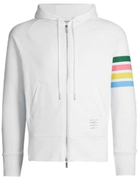 White Thom Browne Hoodie With Rainbow Colored Stripes