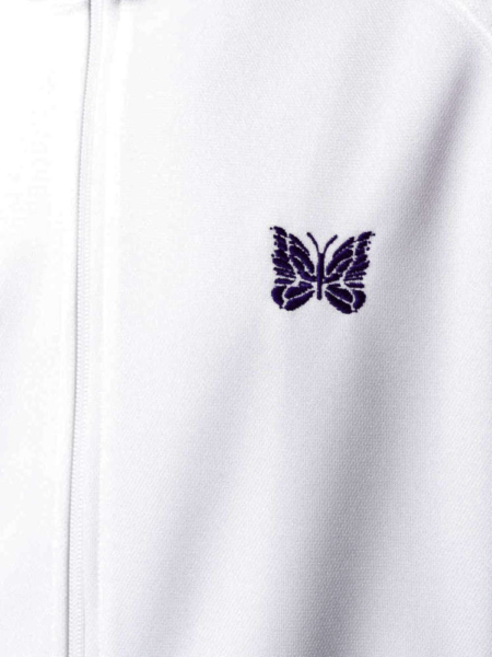 White Track Jacket With Purple Buttergy Logo Worn By Asap Rocky