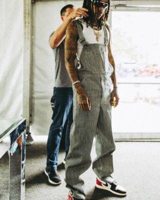 Wiz Khalifa On Set In Pinstripe Overalls Jordan 1 And Oakley Flak Jackets
