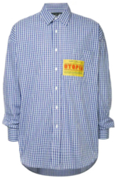 Wiz Khalifa Taylor Music Video Blue Martine Rose Check Shirt With Yellow Utopia Pocket Patch