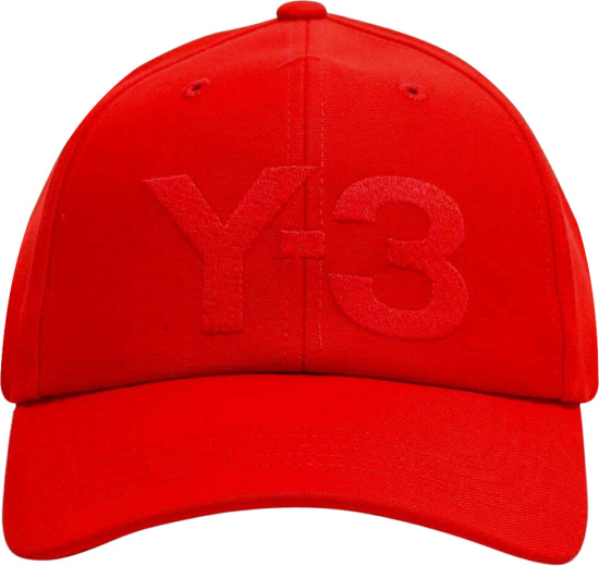 Y3 Logo Embroidered Red Hat